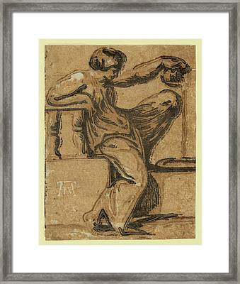 Temperance, Between 1540 And 1560. Vicentino Framed Print