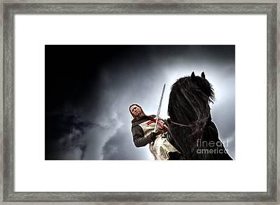 Templar Knight Friesian II Framed Print by Holly Martin