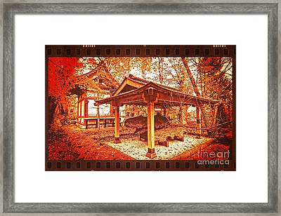 Temple Among Vivid Autumn Leaves Framed Print by Beverly Claire Kaiya
