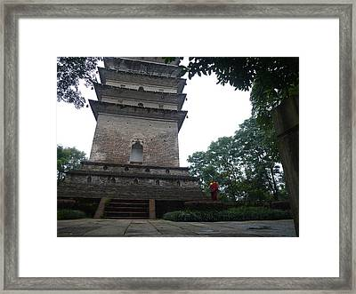 Temple And Monk Framed Print