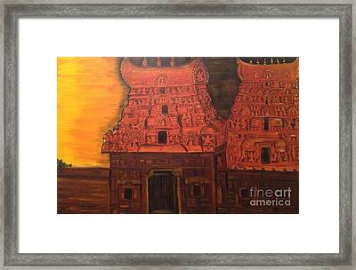 Framed Print featuring the painting Temple At Dawn 2 by Brindha Naveen