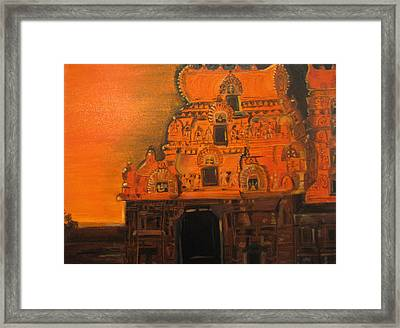 Temple At Dawn Framed Print by Brindha Naveen