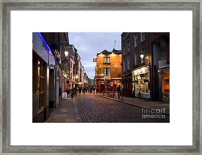 Temple Bar District In Dublin At Night Framed Print