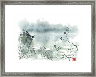 Temple By The Lake Framed Print by Sean Seal