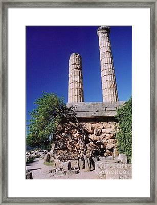 Temple Columns At Delphi Framed Print