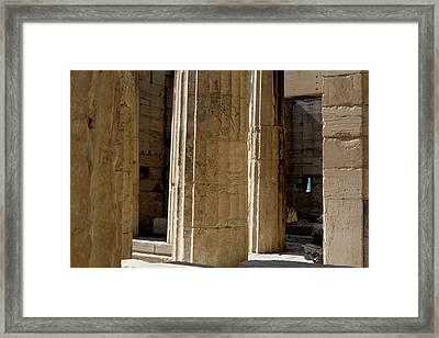 Temple Columns With Window Peek Framed Print