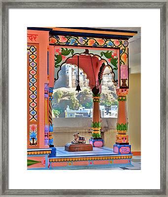 Colorful Temple Entrance - Omkareshwar India Framed Print