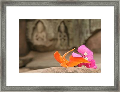 Temple Flowers Framed Print by KandE Inc