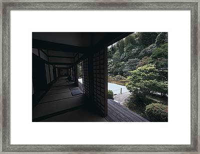 Temple Garden Viewing - Kyoto Framed Print