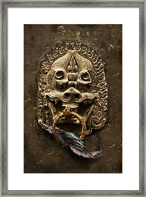 Temple Guardian With Feather Framed Print by Larry Butterworth