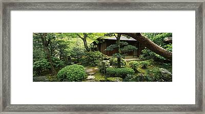 Temple In A Garden, Yuzen-en Garden Framed Print by Panoramic Images