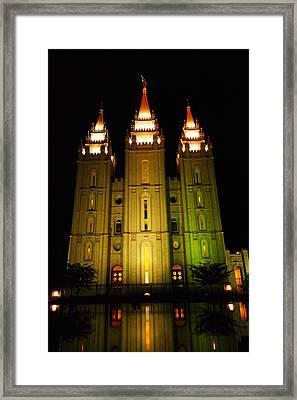 Temple In Salt Lake City Framed Print by Jeff Swan