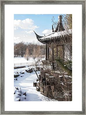 Framed Print featuring the photograph Temple In Snow by Vicki DeVico