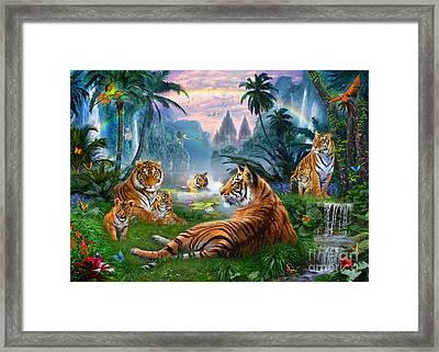 Temple Lake Tigers Framed Print by Jan Patrik Krasny