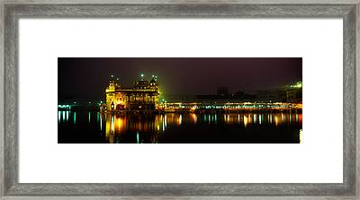 Temple Lit Up At Night, Golden Temple Framed Print