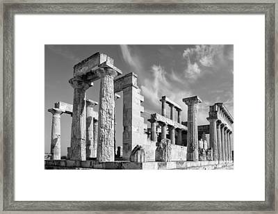 Temple Of Aphaea On Aegina In Greece Framed Print