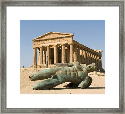 Temple Of Concord And Icarus Fallen Framed Print by Rachel Down