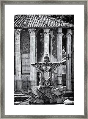 Temple Of Hercules And Fountain Of The Tritons In Rome Framed Print