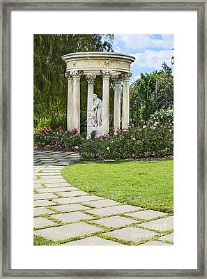 Temple Of Love Statue At The Rose Garden Of The Huntington. Framed Print by Jamie Pham