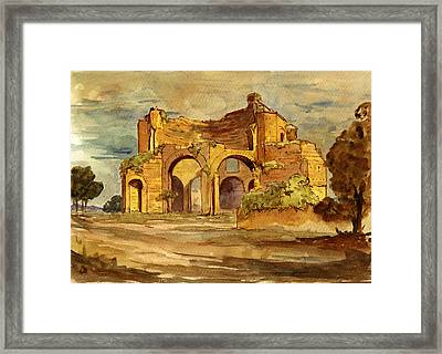 Temple Of Minerva Rome Framed Print by Juan  Bosco