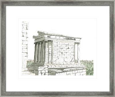 Temple Of Nike Framed Print by Calvin Durham