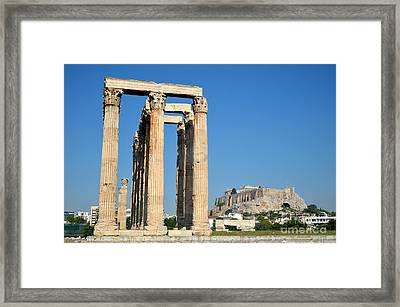 Temple Of Olympian Zeus And Acropolis In Athens Framed Print by George Atsametakis