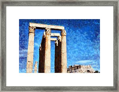 Temple Of Olympian Zeus And Acropolis Framed Print