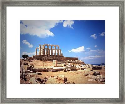 Temple Of Poseidon Vignette Framed Print