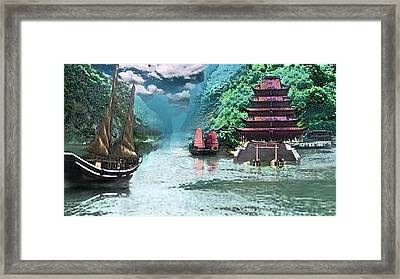 Temple On The Yangzte Framed Print