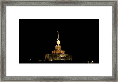 Temple Payson At Night Framed Print by Gloria Pasko