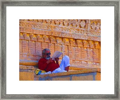 Temple Priest Jaisalmer Fort Rajasthan India Framed Print