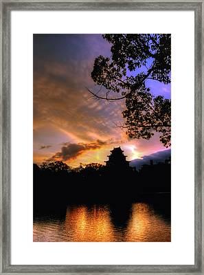 A Temple Sunset Japan Framed Print by John Swartz