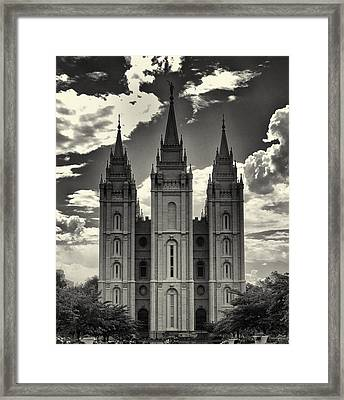 Temple Square Black And White Framed Print
