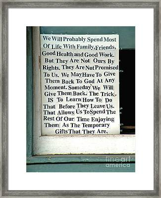 Temporary Gifts Framed Print by Joe Jake Pratt