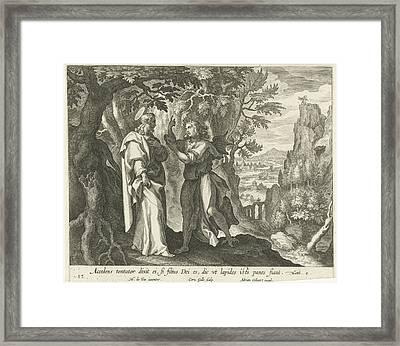 Temptation Of Christ In The Desert, Print Maker Cornelis Framed Print by Cornelis Galle I And Maerten De Vos