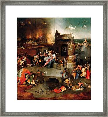 Temptation Of Saint Anthony - Central Panel Framed Print by Hieronymus Bosch