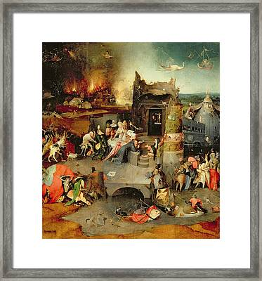 Temptation Of Saint Anthony Centre Panel  Detail Framed Print by Hieronymus Bosch