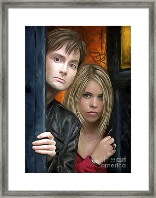 Tenth Doctor And Rose Framed Print by Dori Hartley