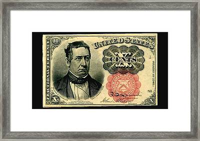 Ten Cents 5th Issue U.s. Fractional Currency Fr 1266 Framed Print by Lanjee Chee