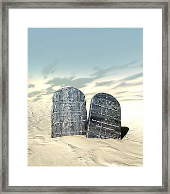 Ten Commandments Standing In The Desert Framed Print