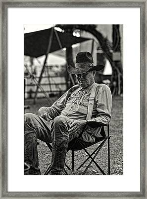 Cowboy And The Ten Gallon Hat Framed Print