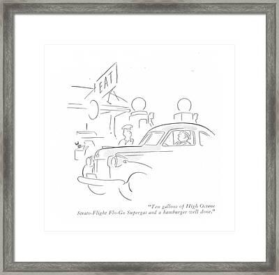 Ten Gallons Of High Octane Strato-flight Flo-go Framed Print by Ned Hilton