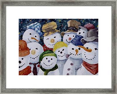 Ten Little Snowmen Framed Print