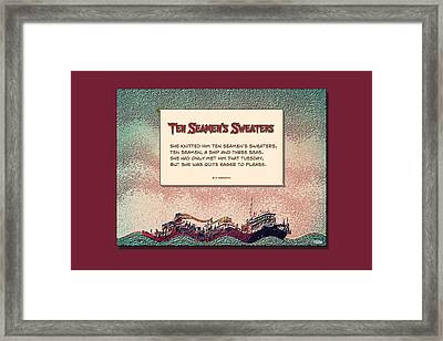 Ten Seamen's Sweaters Framed Print by Brian D Meredith