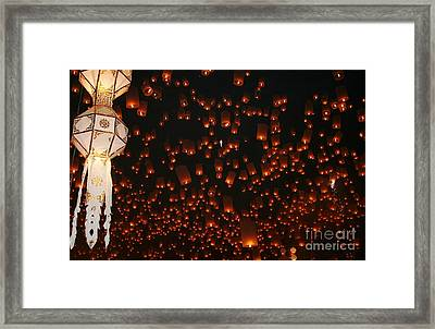 Framed Print featuring the photograph Ten Thousand Lantern Launch by Nola Lee Kelsey