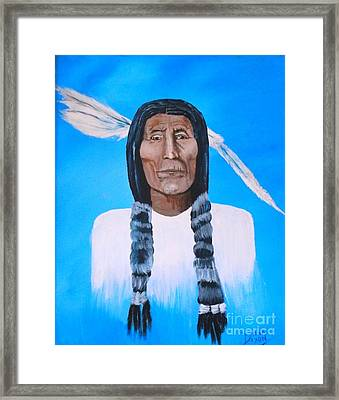 Chief Wolf Robe Framed Print by Donna Dixon