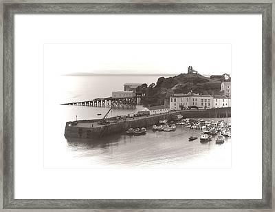 Tenby Harbour And Castle Hill Vignette Framed Print