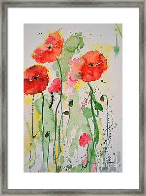 Framed Print featuring the painting Tender Poppies - Flower by Ismeta Gruenwald