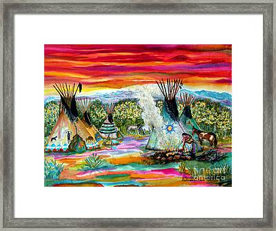 Tending The Fires Framed Print by Anderson R Moore