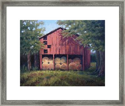 Tennessee Barn With Hay Bales Framed Print by Janet King